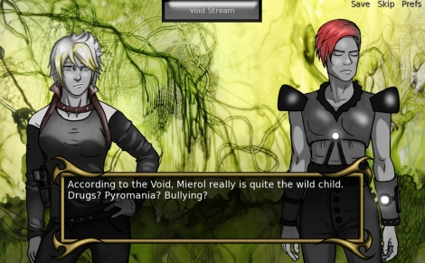 "A screenshot from ""Quantum Conscience,"" a visual novel in which your decision to read the minds of other characters impacts the plot"